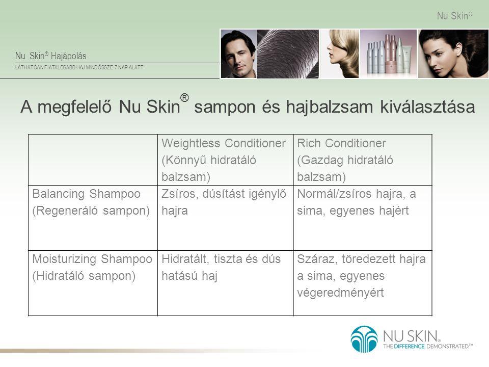 Nu Skin ® Hajápolás LÁTHATÓAN FIATALOSABB HAJ MINDÖSSZE 7 NAP ALATT Nu Skin ® A megfelelő Nu Skin ® sampon és hajbalzsam kiválasztása Weightless Condi