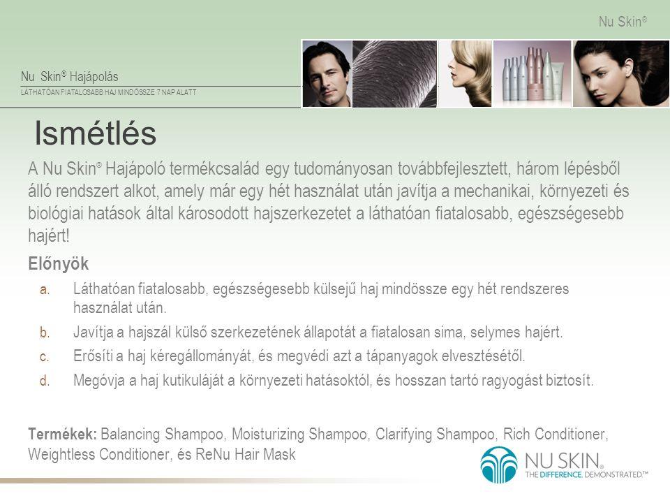Nu Skin ® Hajápolás LÁTHATÓAN FIATALOSABB HAJ MINDÖSSZE 7 NAP ALATT Nu Skin ® Ismétlés A Nu Skin ® Hajápoló termékcsalád egy tudományosan továbbfejles