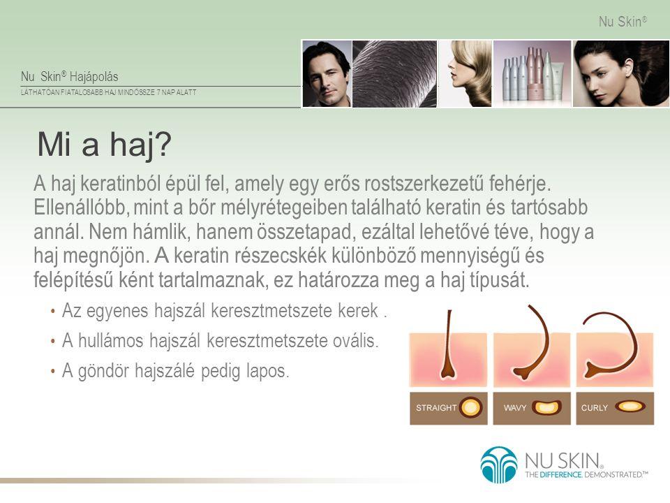 Nu Skin ® Hajápolás LÁTHATÓAN FIATALOSABB HAJ MINDÖSSZE 7 NAP ALATT Nu Skin ® Mi a haj? A haj keratinból épül fel, amely egy erős rostszerkezetű fehér