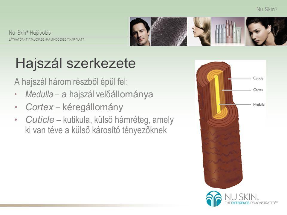 Nu Skin ® Hajápolás LÁTHATÓAN FIATALOSABB HAJ MINDÖSSZE 7 NAP ALATT Nu Skin ® Hajszál szerkezete A hajszál három részből épül fel: • Medulla – a hajsz