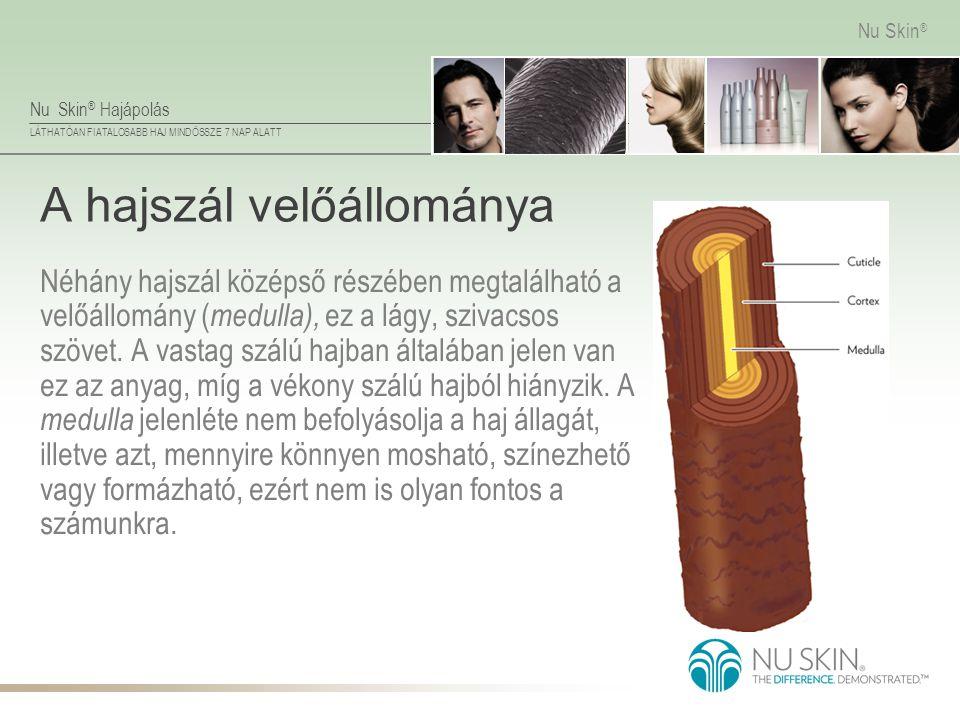 Nu Skin ® Hajápolás LÁTHATÓAN FIATALOSABB HAJ MINDÖSSZE 7 NAP ALATT Nu Skin ® A hajszál velőállománya Néhány hajszál középső részében megtalálható a v
