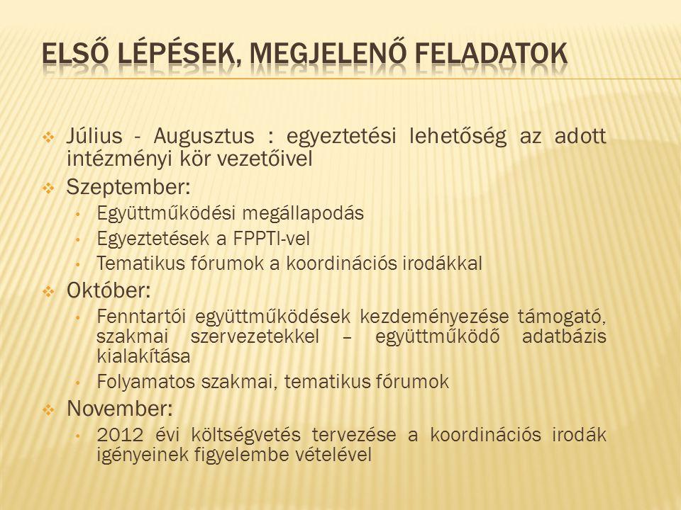  Július - Augusztus : egyeztetési lehetőség az adott intézményi kör vezetőivel  Szeptember: • Együttműködési megállapodás • Egyeztetések a FPPTI-vel • Tematikus fórumok a koordinációs irodákkal  Október: • Fenntartói együttműködések kezdeményezése támogató, szakmai szervezetekkel – együttműködő adatbázis kialakítása • Folyamatos szakmai, tematikus fórumok  November: • 2012 évi költségvetés tervezése a koordinációs irodák igényeinek figyelembe vételével
