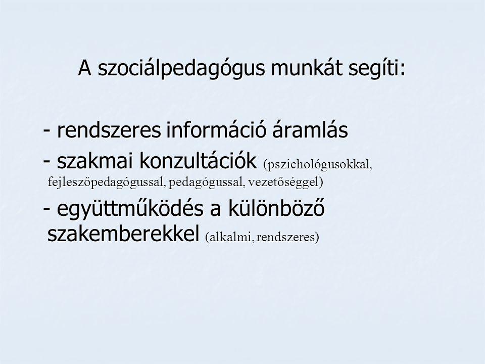 A szociálpedagógus munkát segíti: - rendszeres információ áramlás - rendszeres információ áramlás - szakmai konzultációk (pszichológusokkal, fejleszőp