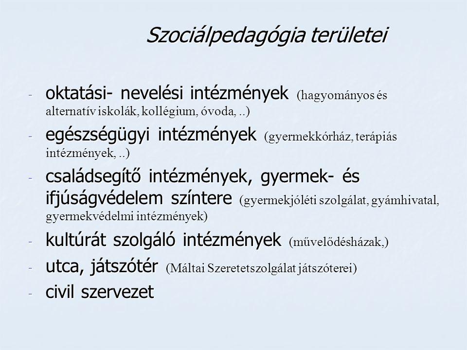 Szociálpedagógia területei Szociálpedagógia területei - oktatási- nevelési intézmények (hagyományos és alternatív iskolák, kollégium, óvoda,..) - egés