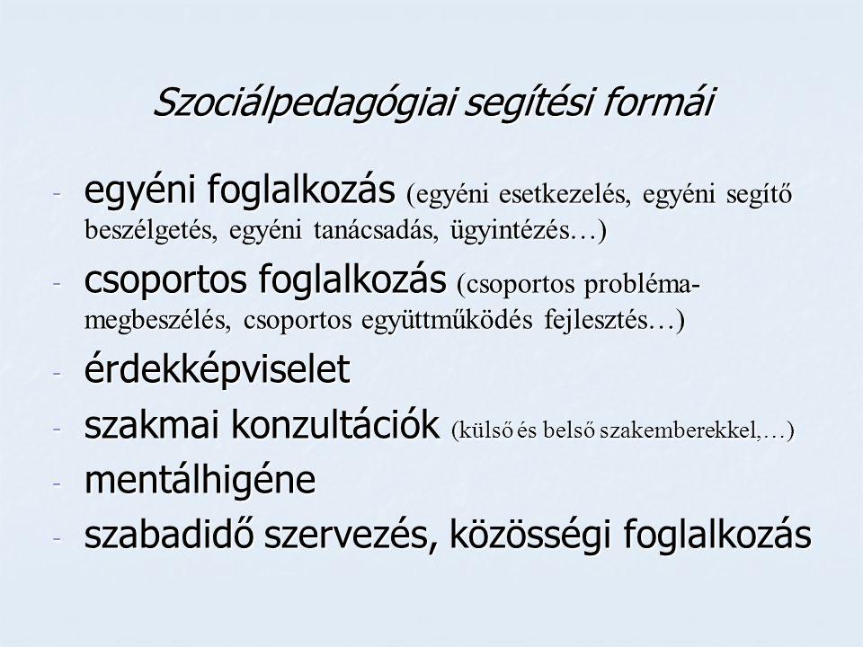 Szociálpedagógiai segítési formái - egyéni foglalkozás (egyéni esetkezelés, egyéni segítő beszélgetés, egyéni tanácsadás, ügyintézés…) - csoportos fog