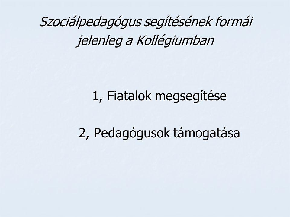 Szociálpedagógus segítésének formái jelenleg a Kollégiumban 1, Fiatalok megsegítése 2, Pedagógusok támogatása