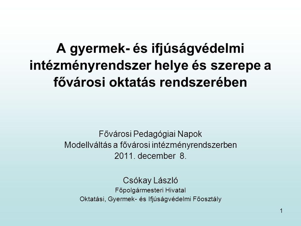1 A gyermek- és ifjúságvédelmi intézményrendszer helye és szerepe a fővárosi oktatás rendszerében Fővárosi Pedagógiai Napok Modellváltás a fővárosi intézményrendszerben 2011.