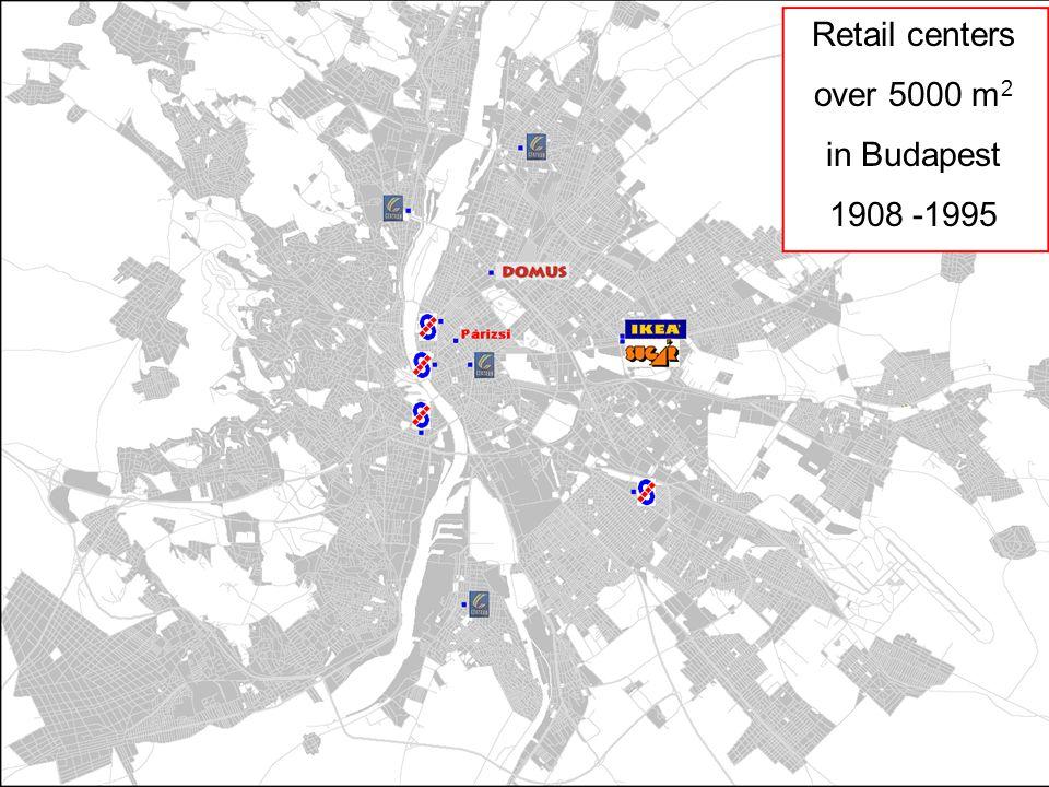 Nagy forgalmat vonzó létesítmények Budapesten FŐMTERV Civil Engineering Ltd Ercsényi Balázs b.ercsenyi@fomterv.hu 3/26 Retail centers over 5000 m 2 in Budapest 1908 -1995