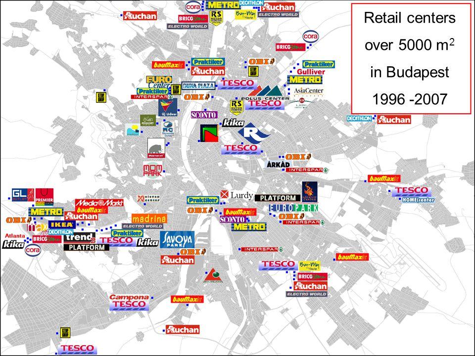 Nagy forgalmat vonzó létesítmények Budapesten FŐMTERV Civil Engineering Ltd Ercsényi Balázs b.ercsenyi@fomterv.hu 4/26 Retail centers over 5000 m 2 in Budapest 1996 -2007