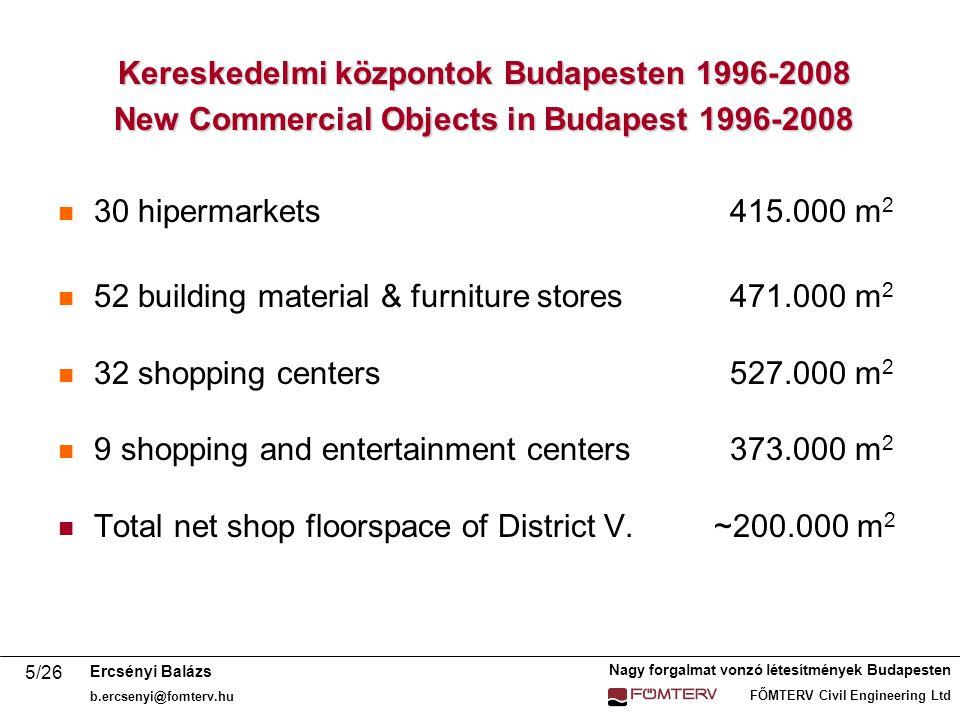 Nagy forgalmat vonzó létesítmények Budapesten FŐMTERV Civil Engineering Ltd Ercsényi Balázs b.ercsenyi@fomterv.hu 16/26