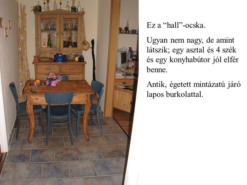 A képen nem annyira látszik, de tágas a konyha.Villanytűzhellyel és járó lappal.