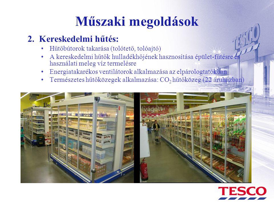 Műszaki megoldások 2. Kereskedelmi hűtés: •Hűtőbútorok takarása (tolótető, tolóajtó) •A kereskedelmi hűtők hulladékhőjének hasznosítása épület-fűtésre