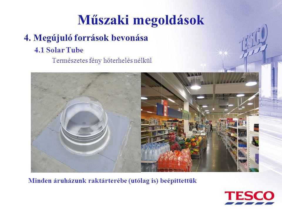 Műszaki megoldások 4. Megújuló források bevonása 4.1 Solar Tube Természetes fény hőterhelés nélkül Minden áruházunk raktárterébe (utólag is) beépíttet