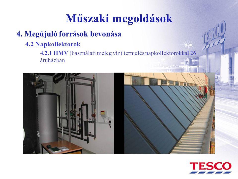 Műszaki megoldások 4. Megújuló források bevonása 4.2 Napkollektorok 4.2.1 HMV (használati meleg víz) termelés napkollektorokkal 26 áruházban