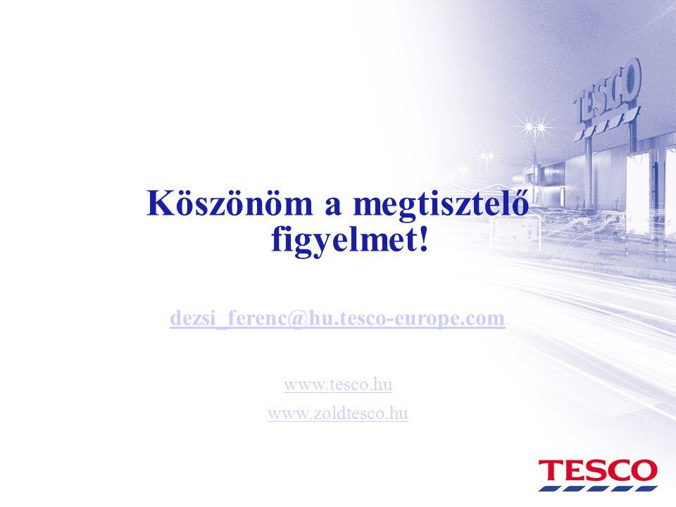 Köszönöm a megtisztelő figyelmet! dezsi_ferenc@hu.tesco-europe.com www.tesco.hu www.zoldtesco.hu