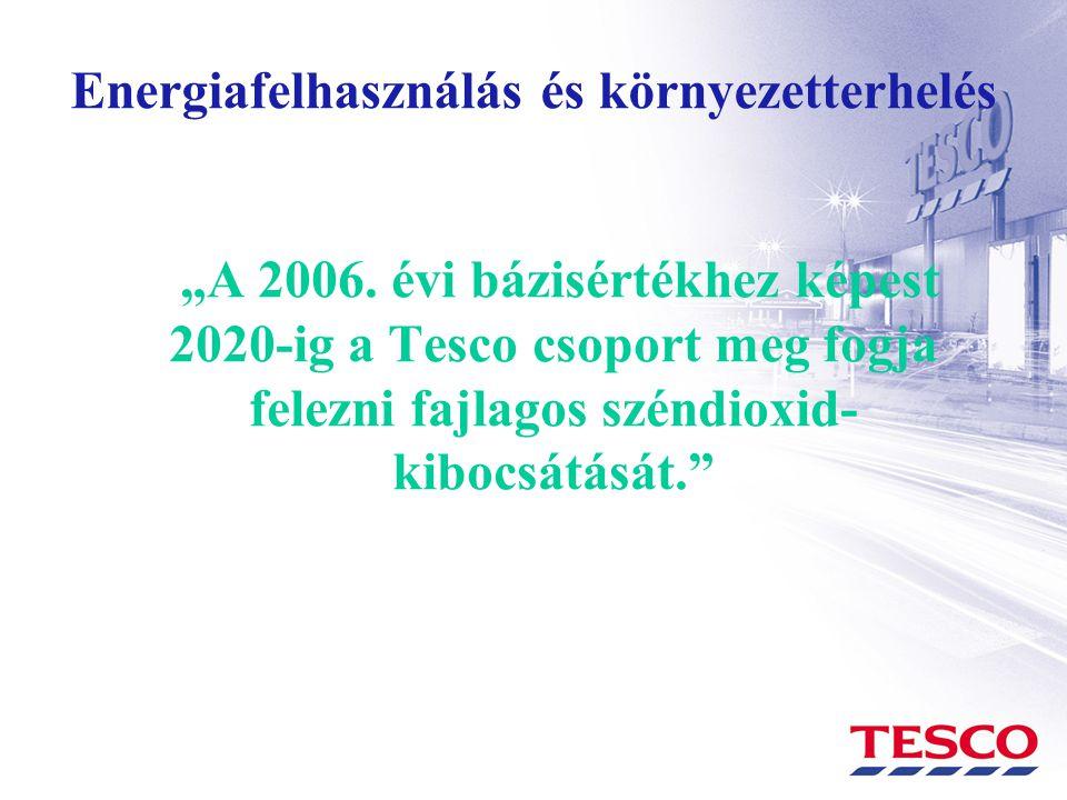 """Energiafelhasználás és környezetterhelés """"A 2006. évi bázisértékhez képest 2020-ig a Tesco csoport meg fogja felezni fajlagos széndioxid- kibocsátását"""