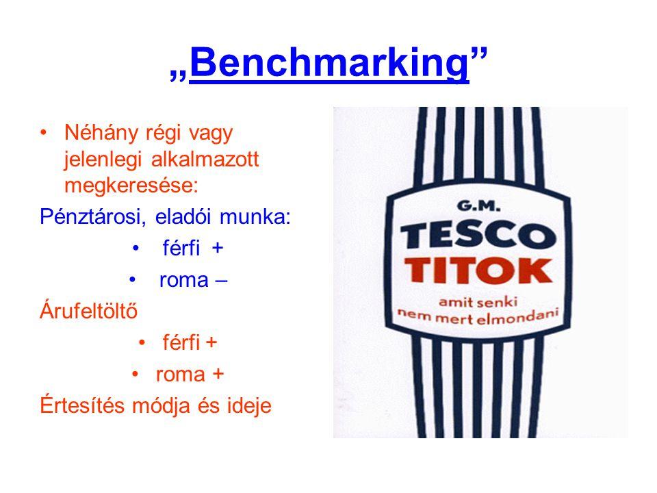 """""""Benchmarking"""" •Néhány régi vagy jelenlegi alkalmazott megkeresése: Pénztárosi, eladói munka: • férfi + • roma – Árufeltöltő •férfi + •roma + Értesíté"""