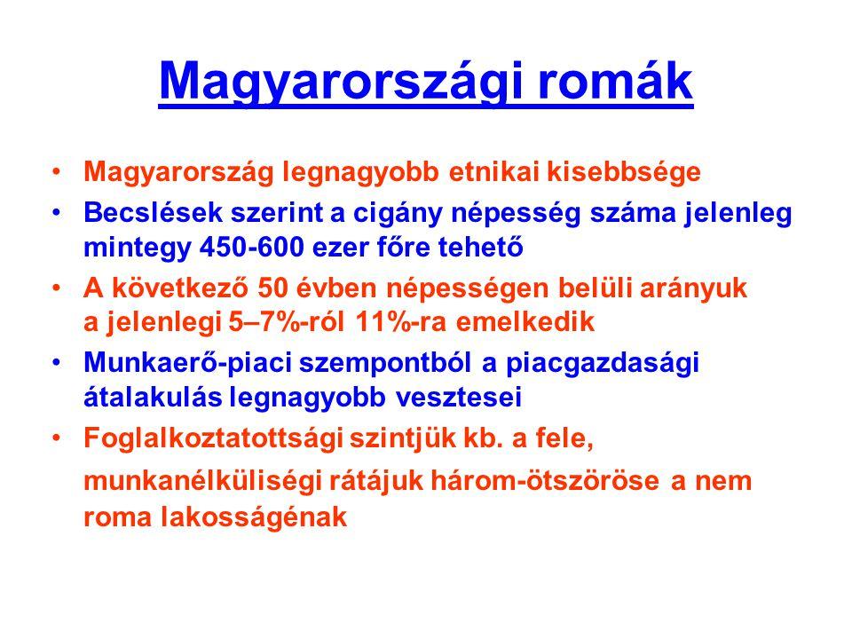 Magyarországi romák •Magyarország legnagyobb etnikai kisebbsége •Becslések szerint a cigány népesség száma jelenleg mintegy 450-600 ezer főre tehető •