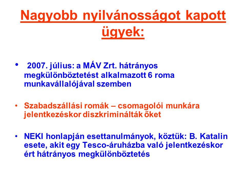 Nagyobb nyilvánosságot kapott ügyek: • 2007. július: a MÁV Zrt. hátrányos megkülönböztetést alkalmazott 6 roma munkavállalójával szemben •Szabadszállá