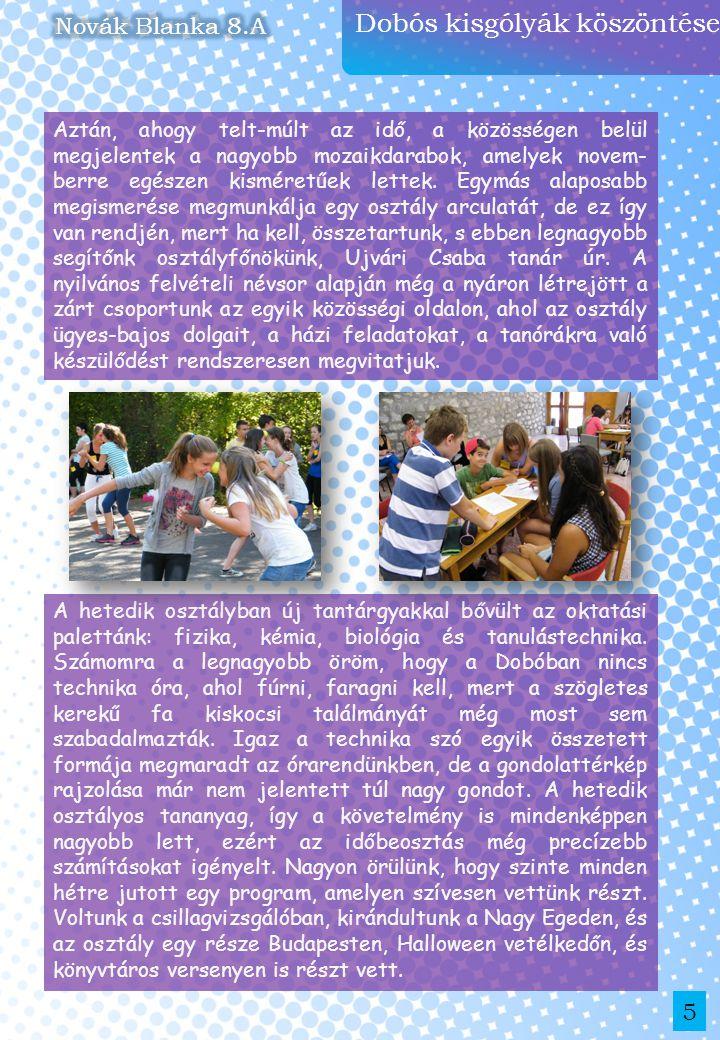 Dobós kisgólyák köszöntése 5 A hetedik osztályban új tantárgyakkal bővült az oktatási palettánk: fizika, kémia, biológia és tanulástechnika. Számomra
