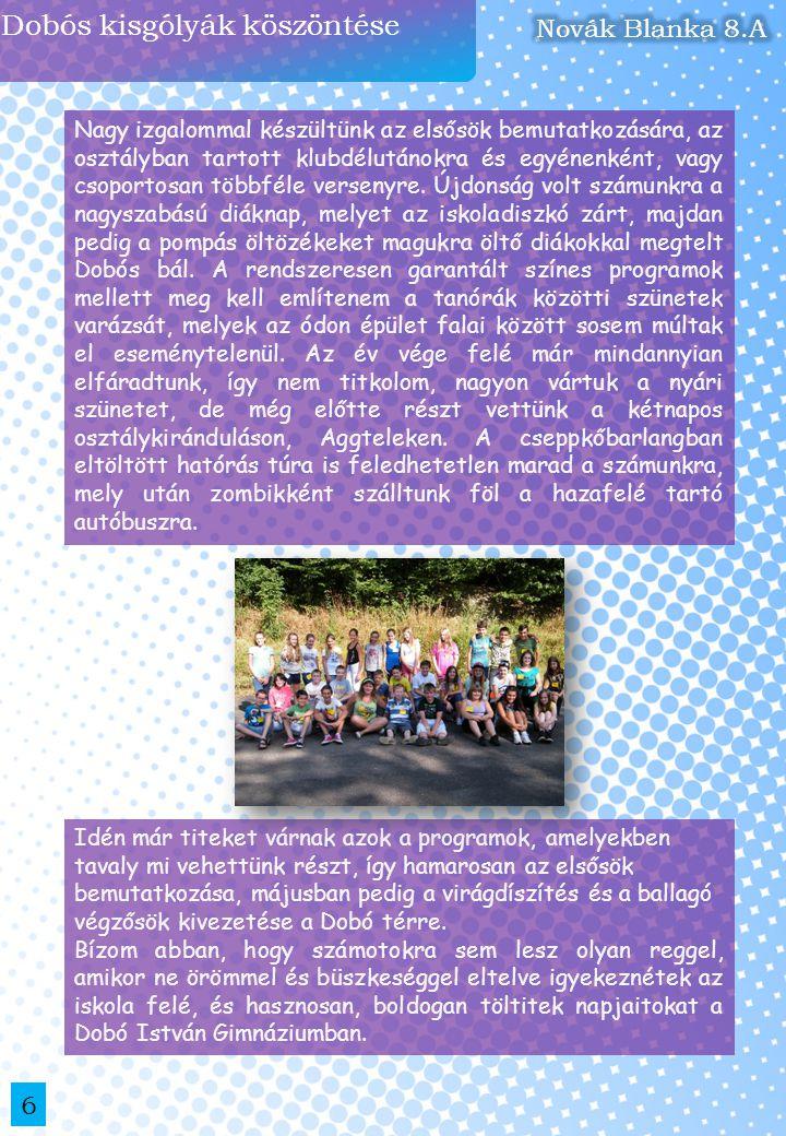 Gólyatábor 2013 a szervezők szemével 7 Az idei napsütéses nyár vége az újdonsült dobós diákoknak és a 12.