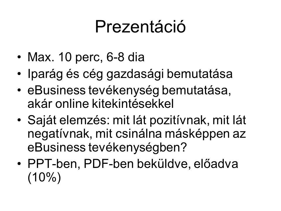 Prezentáció •Max.