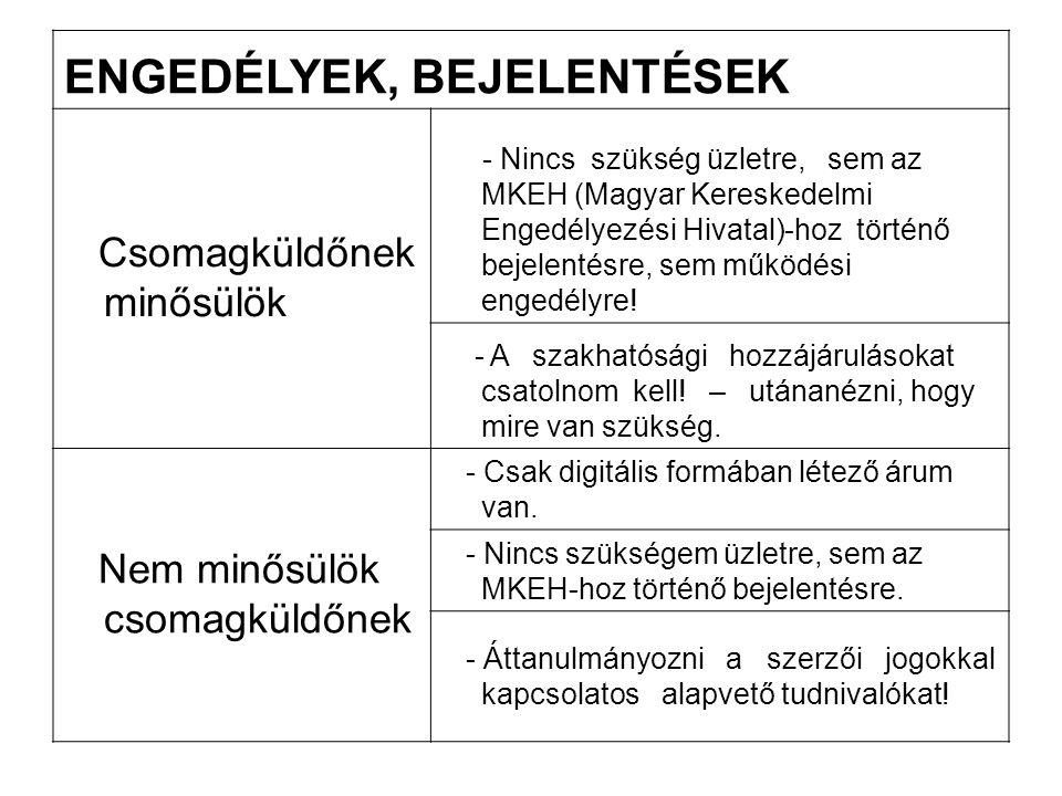 ENGEDÉLYEK, BEJELENTÉSEK Csomagküldőnek minősülök - Nincs szükség üzletre, sem az MKEH (Magyar Kereskedelmi Engedélyezési Hivatal)-hoz történő bejelen