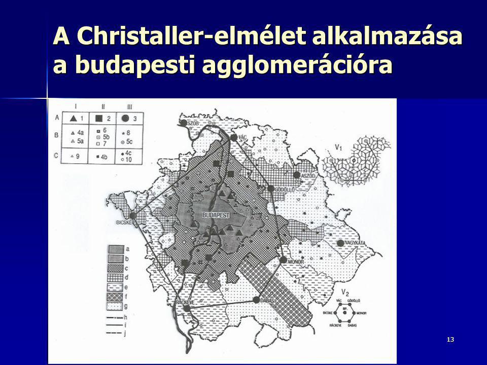 13 A Christaller-elmélet alkalmazása a budapesti agglomerációra