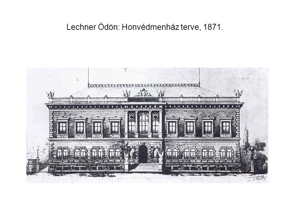 Lechner Ödön: Honvédmenház terve, 1871.