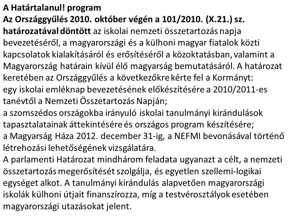 A Határtalanul! program Az Országgyűlés 2010. október végén a 101/2010. (X.21.) sz. határozatával döntött az iskolai nemzeti összetartozás napja bevez