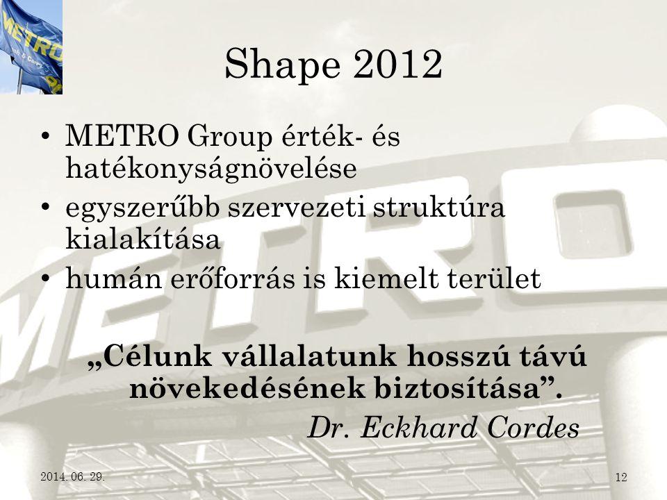 """Shape 2012 • METRO Group érték- és hatékonyságnövelése • egyszerűbb szervezeti struktúra kialakítása • humán erőforrás is kiemelt terület """"Célunk váll"""