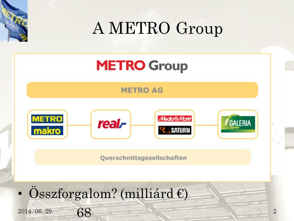 A METRO Group • Anyacég  METRO Group • Hány országban van jelen? 32 • Üzletek száma? 2.200 • Munkatársak száma? 300.000 • Összforgalom? (milliárd €)
