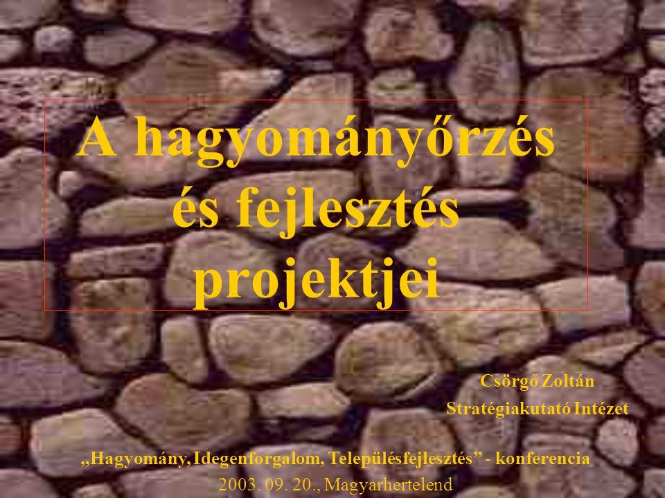 """A hagyományőrzés és fejlesztés projektjei Stratégiakutató Intézet Csörgő Zoltán """"Hagyomány, Idegenforgalom, Településfejlesztés - konferencia 2003."""