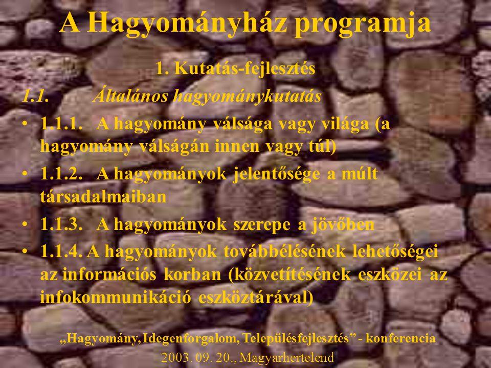 A Hagyományház programja 1. Kutatás-fejlesztés 1.1.