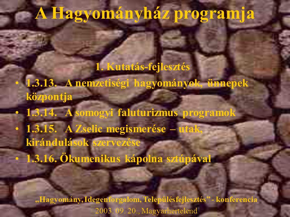 1. Kutatás-fejlesztés •1.3.13. A nemzetiségi hagyományok, ünnepek központja •1.3.14.