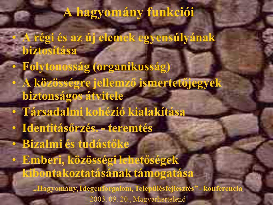 A hagyomány funkciói •A régi és az új elemek egyensúlyának biztosítása •Folytonosság (organikusság) •A közösségre jellemző ismertetőjegyek biztonságos átvitele •Társadalmi kohézió kialakítása •Identitásőrzés.