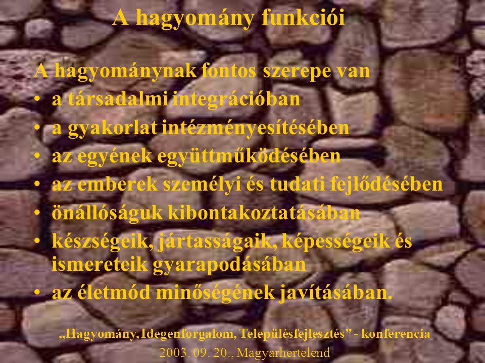 A hagyomány funkciói A hagyománynak fontos szerepe van •a társadalmi integrációban •a gyakorlat intézményesítésében •az egyének együttműködésében •az emberek személyi és tudati fejlődésében •önállóságuk kibontakoztatásában •készségeik, jártasságaik, képességeik és ismereteik gyarapodásában •az életmód minőségének javításában.