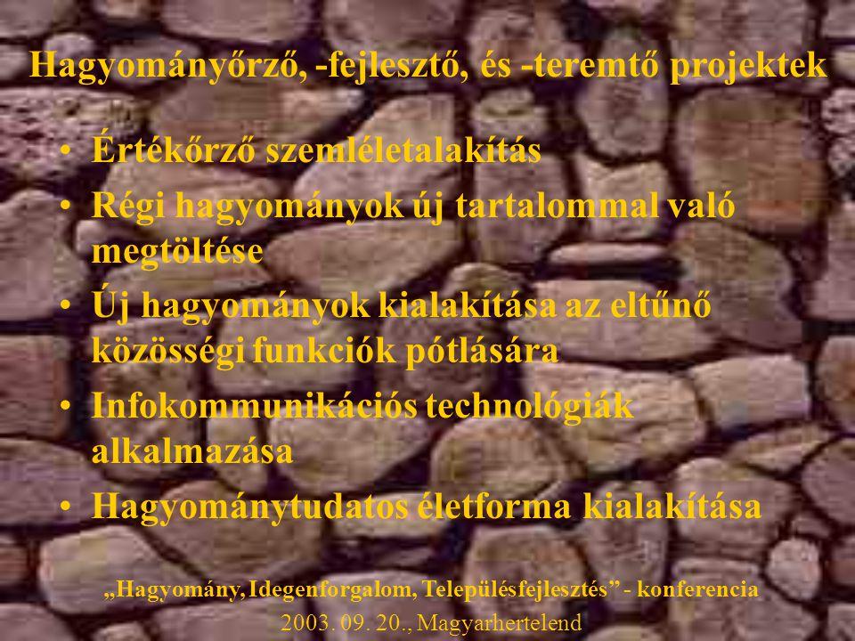 """Hagyományőrző, -fejlesztő, és -teremtő projektek •Értékőrző szemléletalakítás •Régi hagyományok új tartalommal való megtöltése •Új hagyományok kialakítása az eltűnő közösségi funkciók pótlására •Infokommunikációs technológiák alkalmazása •Hagyománytudatos életforma kialakítása """"Hagyomány, Idegenforgalom, Településfejlesztés - konferencia 2003."""