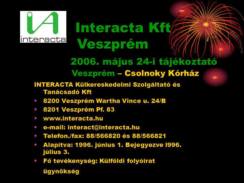 INTERACTA Külkereskedelmi Szolgáltató és Tanácsadó Kft •8200 Veszprém Wartha Vince u. 24/B •8201 Veszprém Pf. 83 •www.interacta.hu •e-mail: interact@i