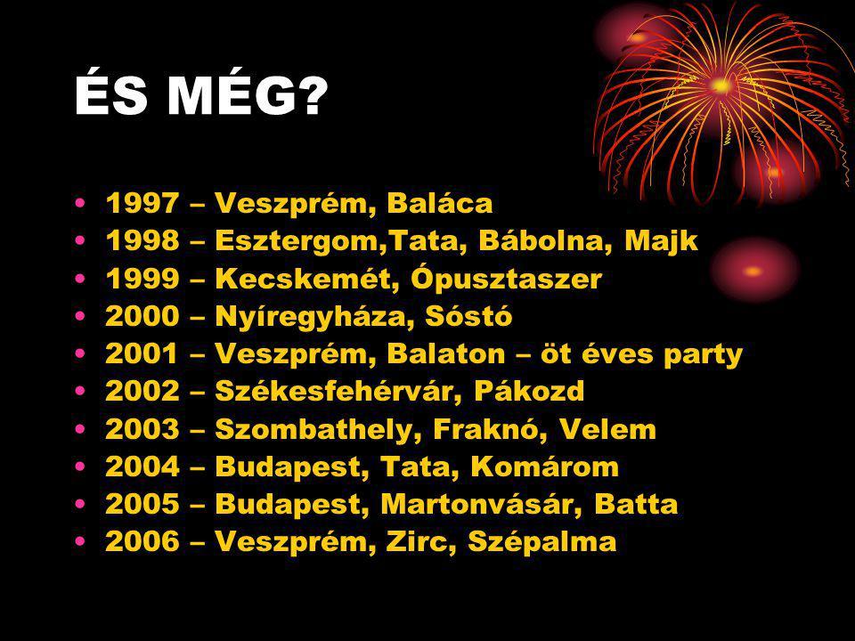ÉS MÉG? •1997 – Veszprém, Baláca •1998 – Esztergom,Tata, Bábolna, Majk •1999 – Kecskemét, Ópusztaszer •2000 – Nyíregyháza, Sóstó •2001 – Veszprém, Bal