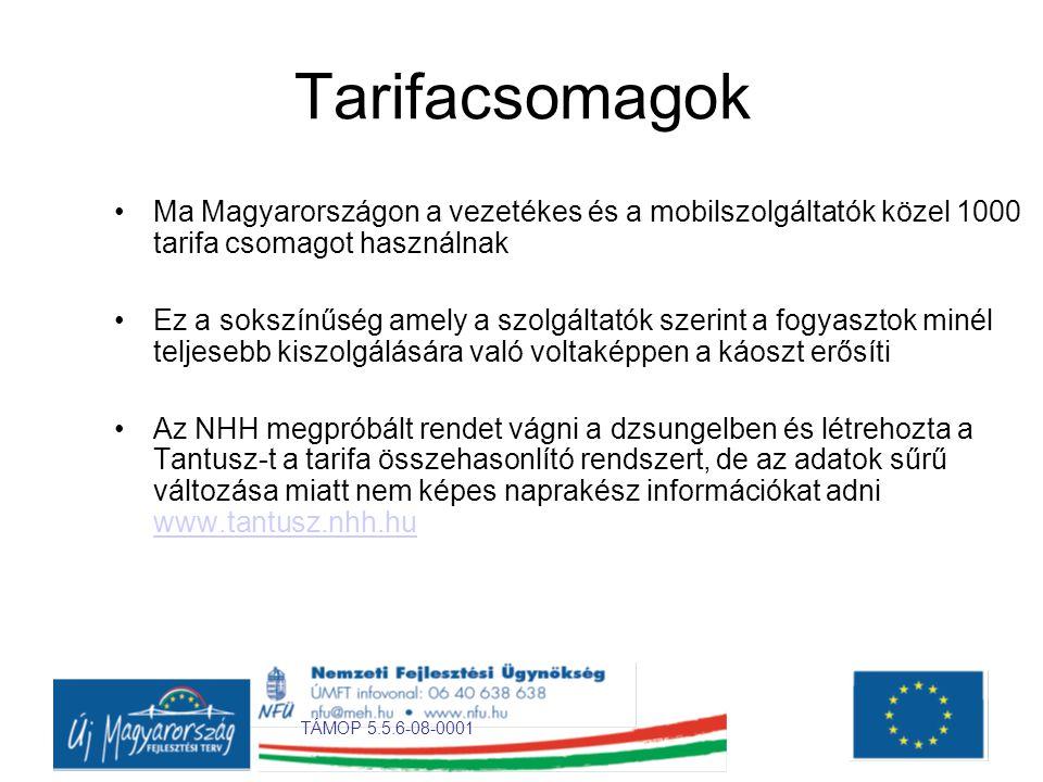 TÁMOP 5.5.6-08-0001 Tarifacsomagok •Ma Magyarországon a vezetékes és a mobilszolgáltatók közel 1000 tarifa csomagot használnak •Ez a sokszínűség amely a szolgáltatók szerint a fogyasztok minél teljesebb kiszolgálására való voltaképpen a káoszt erősíti •Az NHH megpróbált rendet vágni a dzsungelben és létrehozta a Tantusz-t a tarifa összehasonlító rendszert, de az adatok sűrű változása miatt nem képes naprakész információkat adni www.tantusz.nhh.hu www.tantusz.nhh.hu