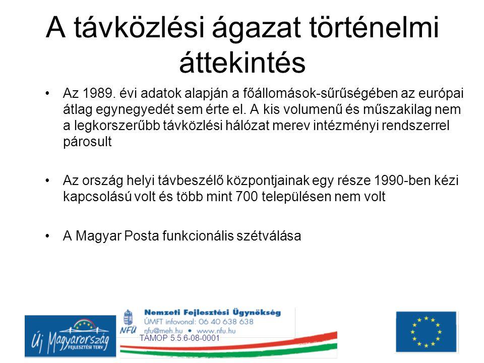 TÁMOP 5.5.6-08-0001 A távközlési ágazat történelmi áttekintés •Az 1989.