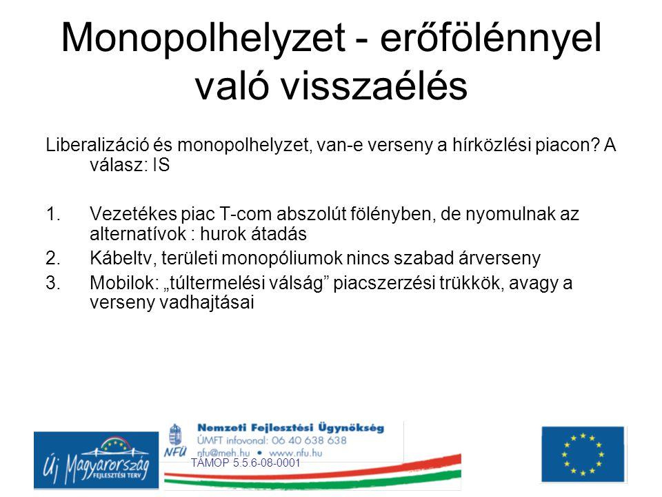 Monopolhelyzet - erőfölénnyel való visszaélés Liberalizáció és monopolhelyzet, van-e verseny a hírközlési piacon.