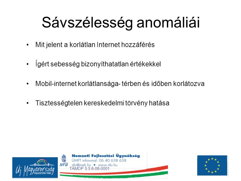 TÁMOP 5.5.6-08-0001 Sávszélesség anomáliái •Mit jelent a korlátlan Internet hozzáférés •Ígért sebesség bizonyíthatatlan értékekkel •Mobil-internet korlátlansága- térben és időben korlátozva •Tisztességtelen kereskedelmi törvény hatása