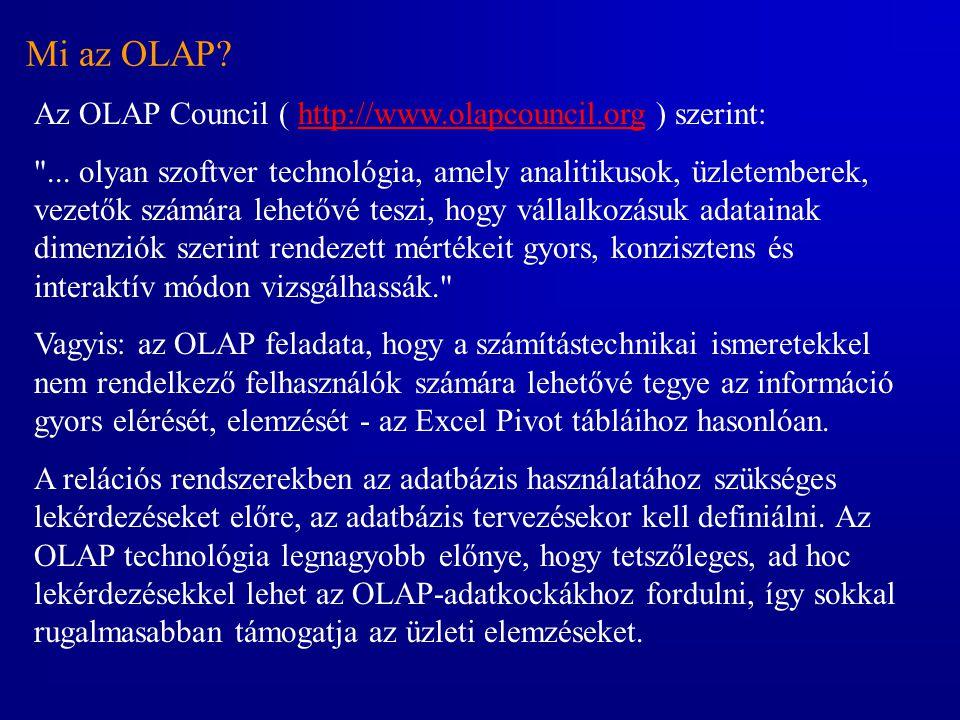 Mi az OLAP? Az OLAP Council ( http://www.olapcouncil.org ) szerint:http://www.olapcouncil.org
