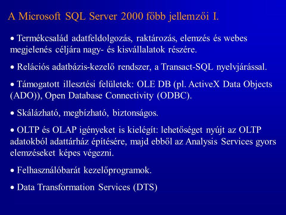 A Microsoft SQL Server 2000 főbb jellemzői I.  Termékcsalád adatfeldolgozás, raktározás, elemzés és webes megjelenés céljára nagy- és kisvállalatok r