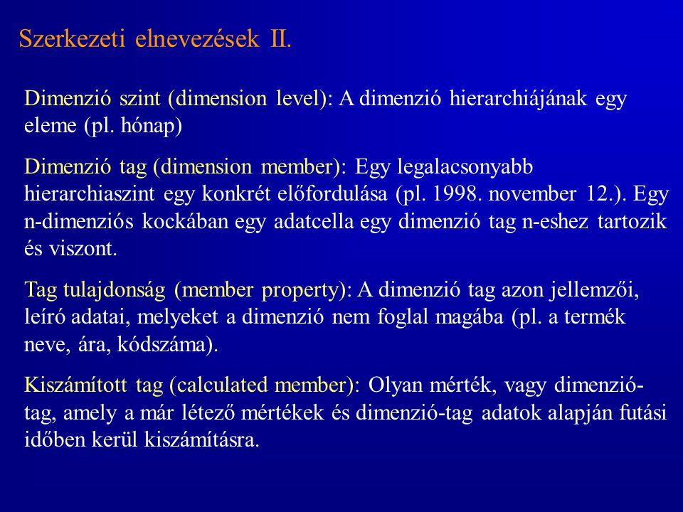 Szerkezeti elnevezések II. Dimenzió szint (dimension level): A dimenzió hierarchiájának egy eleme (pl. hónap) Dimenzió tag (dimension member): Egy leg