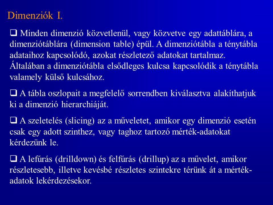 Dimenziók I.  Minden dimenzió közvetlenül, vagy közvetve egy adattáblára, a dimenziótáblára (dimension table) épül. A dimenziótábla a ténytábla adata