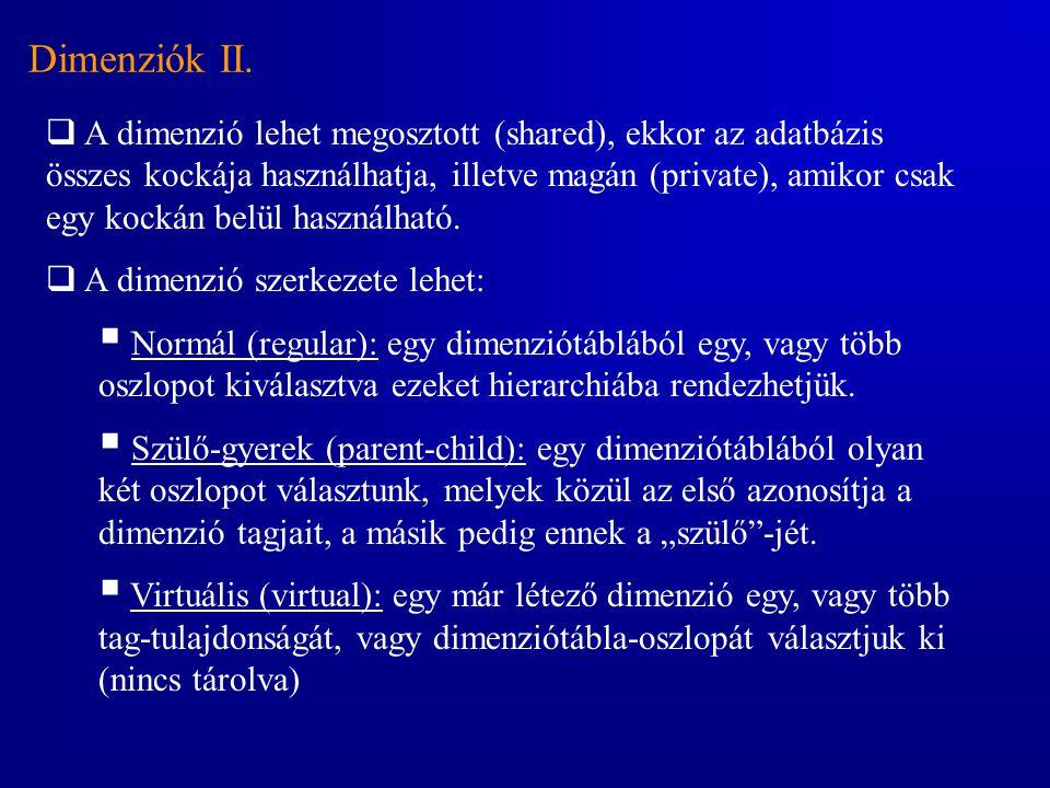 Dimenziók II.  A dimenzió lehet megosztott (shared), ekkor az adatbázis összes kockája használhatja, illetve magán (private), amikor csak egy kockán