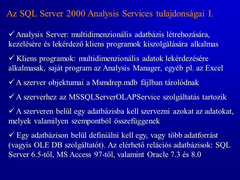 Az SQL Server 2000 Analysis Services tulajdonságai I.  Analysis Server: multidimenzionális adatbázis létrehozására, kezelésére és lekérdező kliens pr